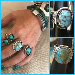 Jewelry - Bohemian Vintage Style Silver Turquoise Rings